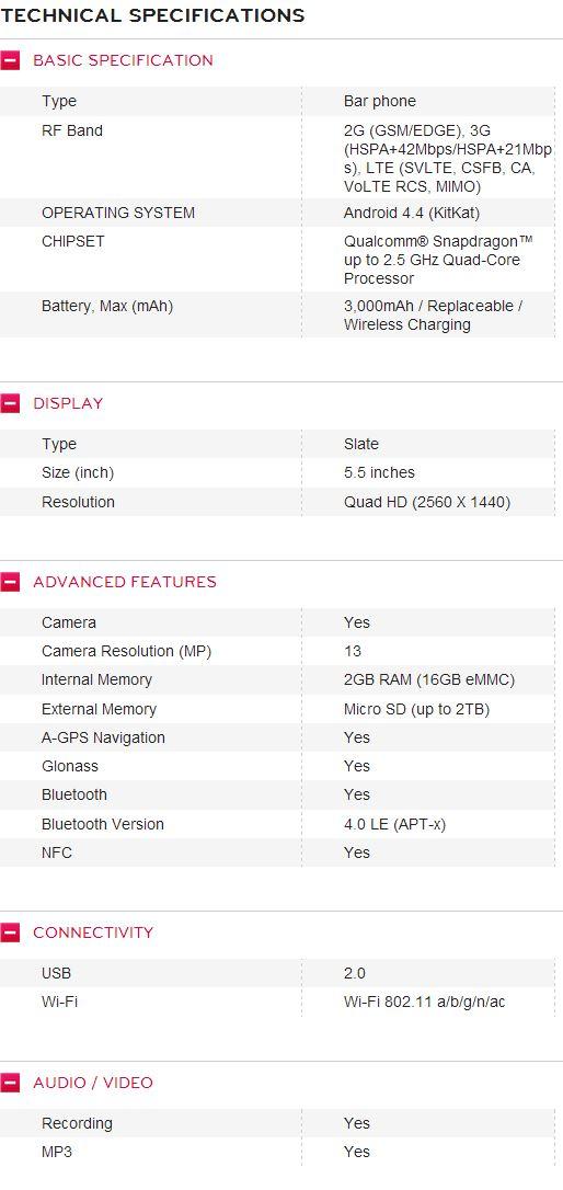 scheda tecnica completa di LG G3